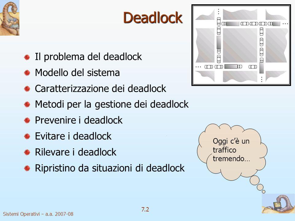 Sistemi Operativi a.a. 2007-08 7.2 Deadlock Il problema del deadlock Modello del sistema Caratterizzazione dei deadlock Metodi per la gestione dei dea