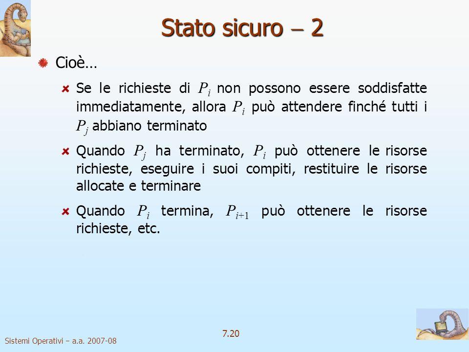 Sistemi Operativi a.a. 2007-08 7.20 Stato sicuro 2 Cioè… Se le richieste di P i non possono essere soddisfatte immediatamente, allora P i può attender
