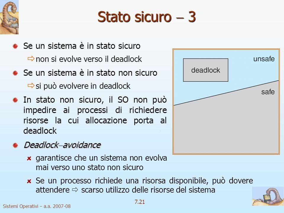 Sistemi Operativi a.a. 2007-08 7.21 Se un processo richiede una risorsa disponibile, può dovere attendere scarso utilizzo delle risorse del sistema St