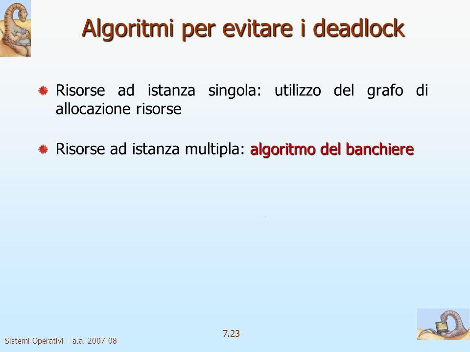 Sistemi Operativi a.a. 2007-08 7.23 Algoritmi per evitare i deadlock Risorse ad istanza singola: utilizzo del grafo di allocazione risorse algoritmo d