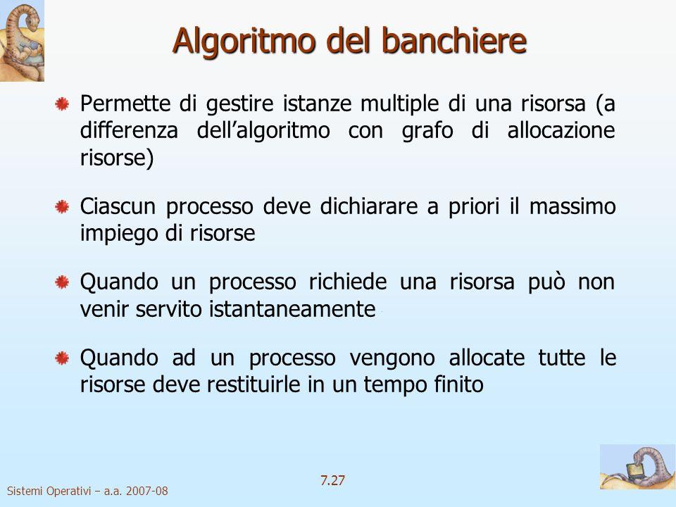 Sistemi Operativi a.a. 2007-08 7.27 Algoritmo del banchiere Permette di gestire istanze multiple di una risorsa (a differenza dellalgoritmo con grafo