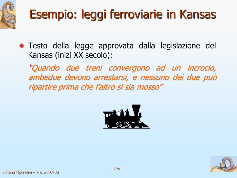 Sistemi Operativi a.a. 2007-08 7.6 Esempio: leggi ferroviarie in Kansas Testo della legge approvata dalla legislazione del Kansas (inizi XX secolo): Q