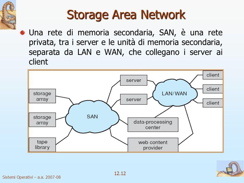 Sistemi Operativi a.a. 2007-08 12.12 Storage Area Network Una rete di memoria secondaria, SAN, è una rete privata, tra i server e le unità di memoria