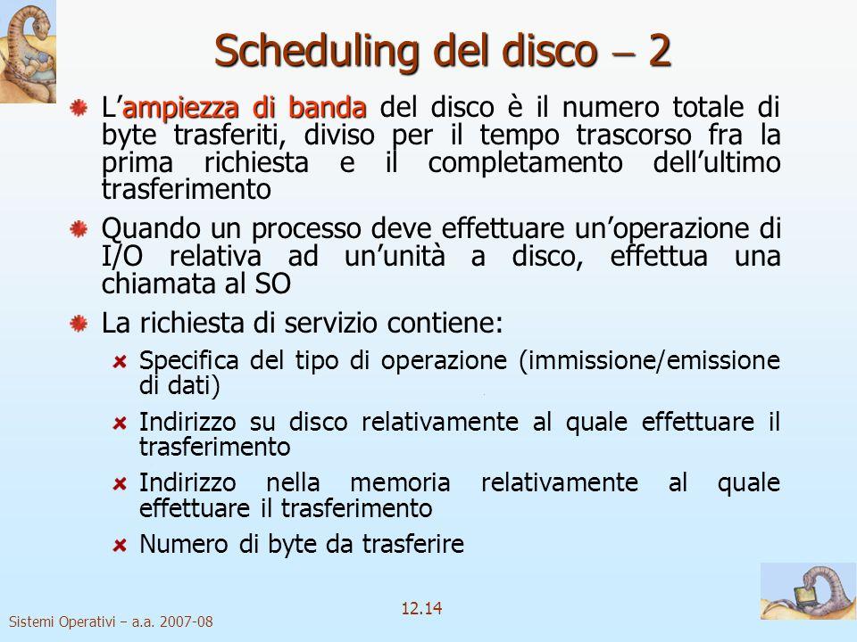Sistemi Operativi a.a. 2007-08 12.14 Scheduling del disco 2 ampiezza di banda Lampiezza di banda del disco è il numero totale di byte trasferiti, divi