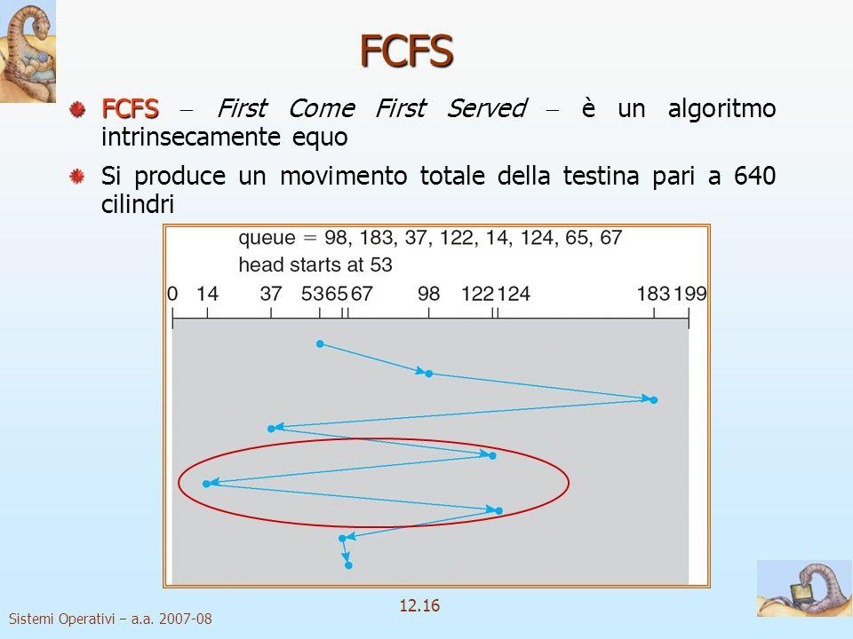 Sistemi Operativi a.a. 2007-08 12.16 FCFS FCFSFirst Come First Served FCFS First Come First Served è un algoritmo intrinsecamente equo Si produce un m
