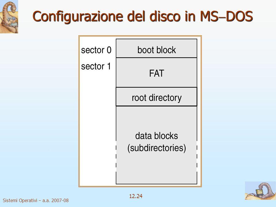 Sistemi Operativi a.a. 2007-08 12.24 Configurazione del disco in MS DOS