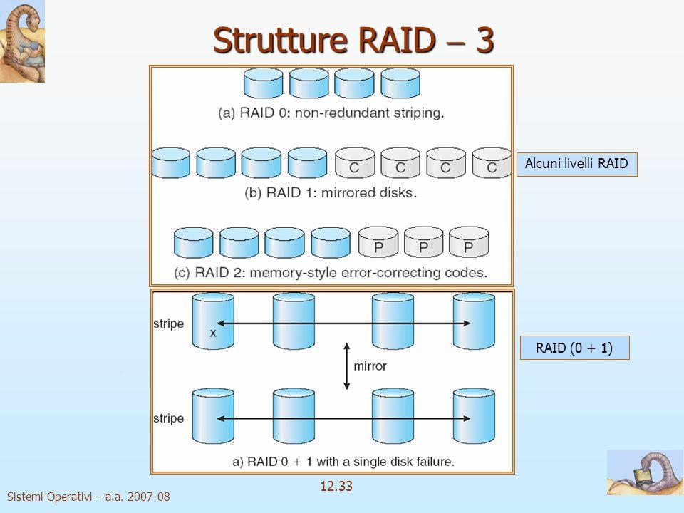 Sistemi Operativi a.a. 2007-08 12.33 Strutture RAID 3 Alcuni livelli RAID RAID (0 + 1)