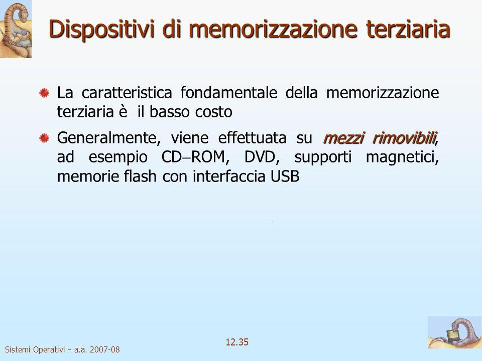 Sistemi Operativi a.a. 2007-08 12.35 Dispositivi di memorizzazione terziaria La caratteristica fondamentale della memorizzazione terziaria è il basso