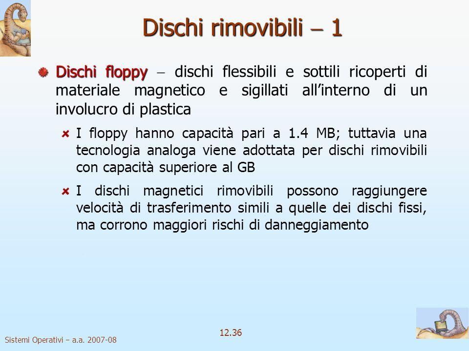 Sistemi Operativi a.a. 2007-08 12.36 Dischi rimovibili 1 Dischi floppy Dischi floppy dischi flessibili e sottili ricoperti di materiale magnetico e si