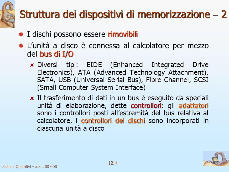Sistemi Operativi a.a. 2007-08 12.4 Struttura dei dispositivi di memorizzazione 2 rimovibili I dischi possono essere rimovibili bus di I/O Lunità a di