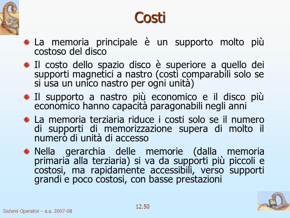 Sistemi Operativi a.a. 2007-08 12.50 Costi La memoria principale è un supporto molto più costoso del disco Il costo dello spazio disco è superiore a q