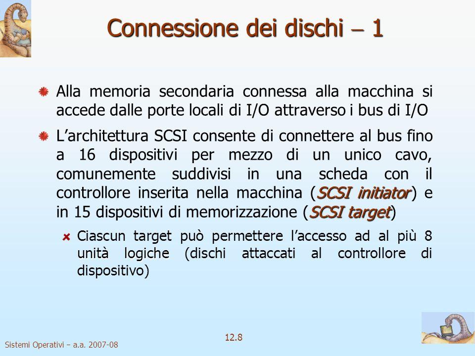 Sistemi Operativi a.a. 2007-08 12.8 Connessione dei dischi 1 Alla memoria secondaria connessa alla macchina si accede dalle porte locali di I/O attrav