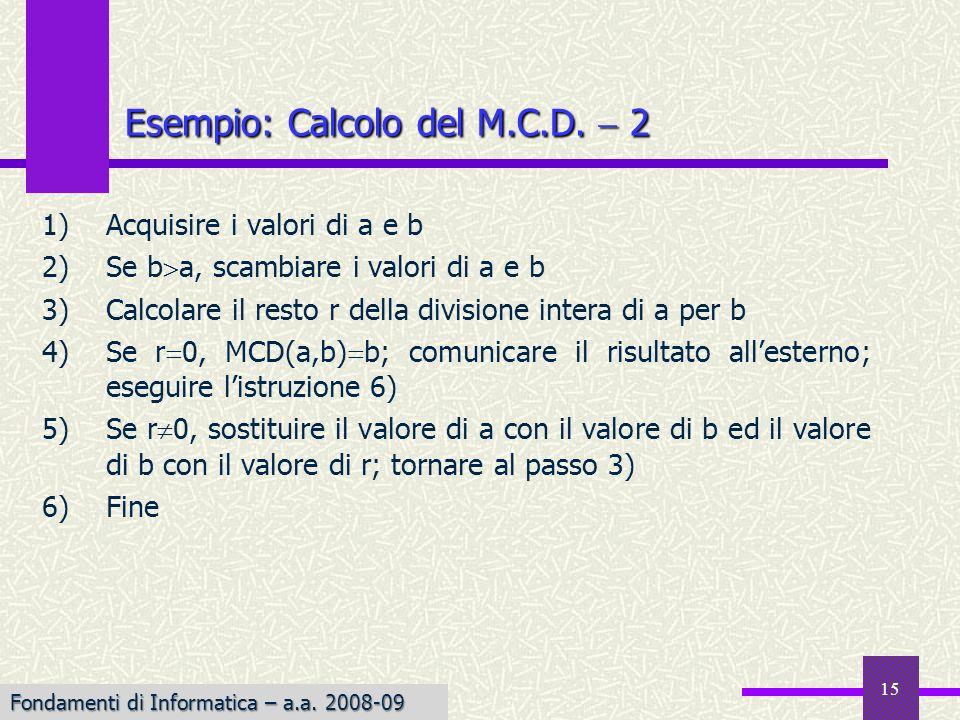 Fondamenti di Informatica I a.a. 2007-08 15 1)Acquisire i valori di a e b 2)Se b a, scambiare i valori di a e b 3)Calcolare il resto r della divisione