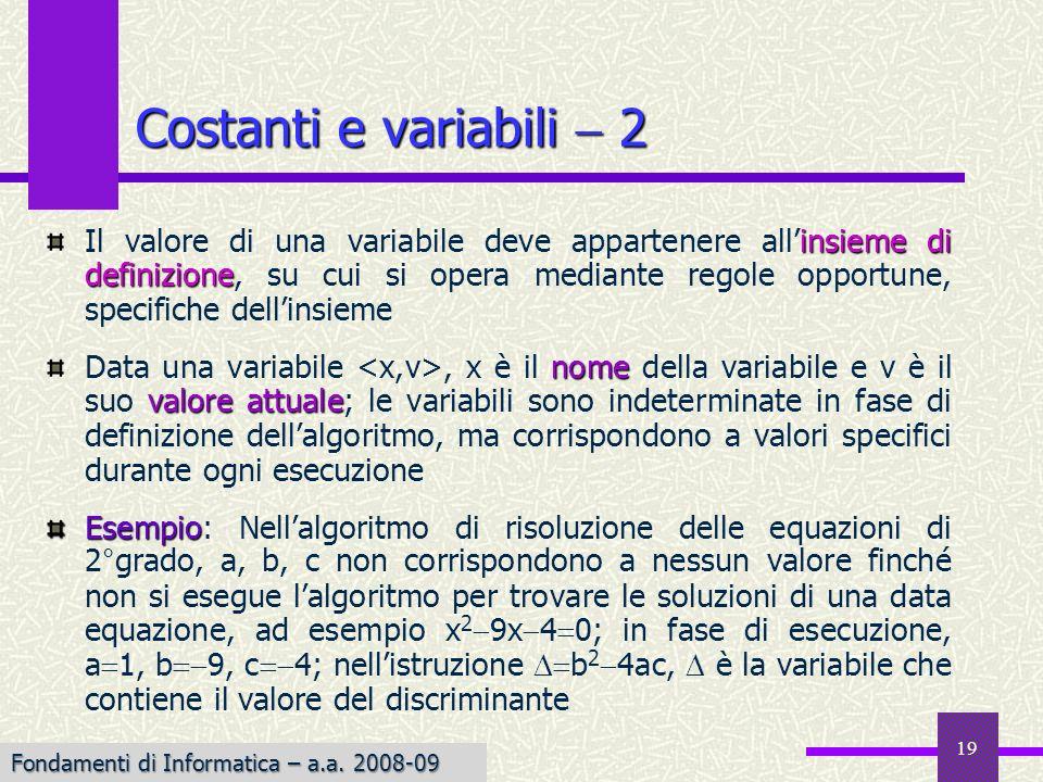 Fondamenti di Informatica I a.a. 2007-08 19 insieme di definizione Il valore di una variabile deve appartenere allinsieme di definizione, su cui si op