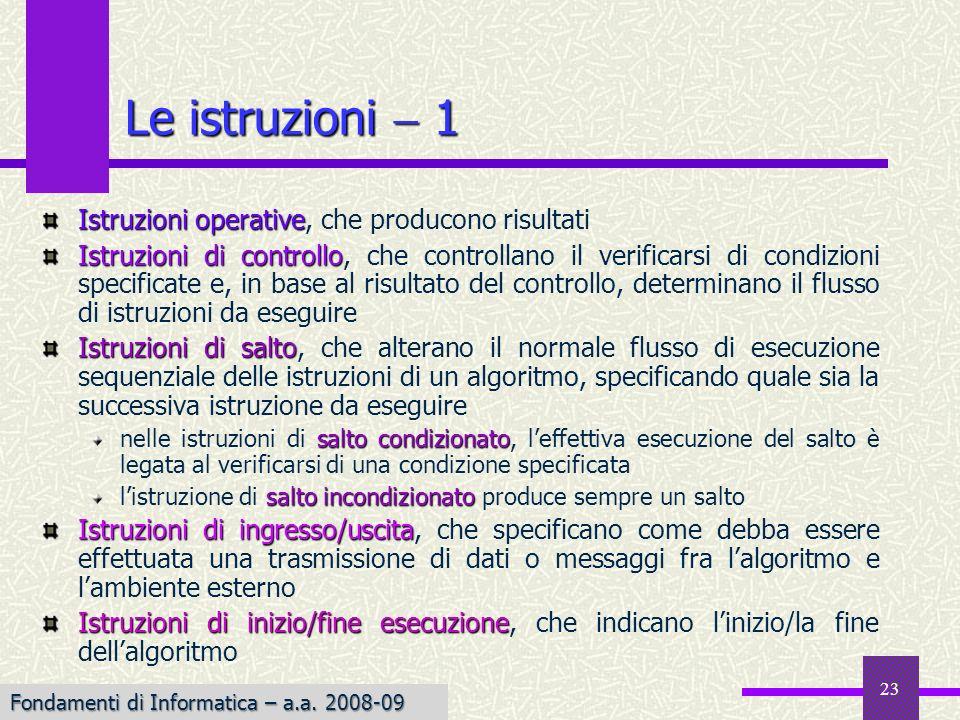 Fondamenti di Informatica I a.a. 2007-08 23 Istruzioni operative Istruzioni operative, che producono risultati Istruzioni di controllo Istruzioni di c