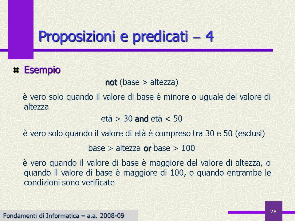 Fondamenti di Informatica I a.a. 2007-08 28 Esempio not not (base > altezza) è vero solo quando il valore di base è minore o uguale del valore di alte