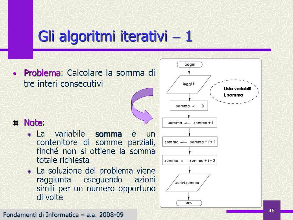 Fondamenti di Informatica I a.a. 2007-08 46 Gli algoritmi iterativi 1 Note Note: somma La variabile somma è un contenitore di somme parziali, finché n