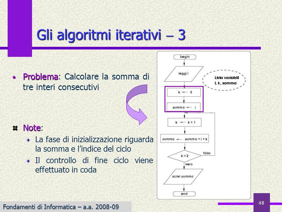Fondamenti di Informatica I a.a. 2007-08 48 Gli algoritmi iterativi 3 Problema Problema: Calcolare la somma di tre interi consecutivi Note Note: La fa