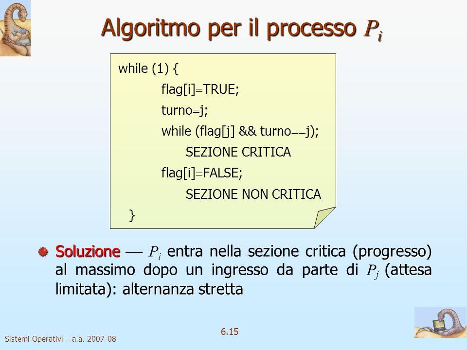 Sistemi Operativi a.a. 2007-08 6.15 while (1) { flag[i] TRUE; turno j; while (flag[j] && turno j); SEZIONE CRITICA flag[i] FALSE; SEZIONE NON CRITICA