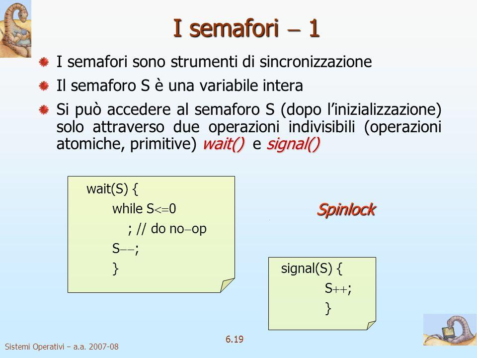 Sistemi Operativi a.a. 2007-08 6.19 I semafori sono strumenti di sincronizzazione Il semaforo S è una variabile intera wait()signal() Si può accedere