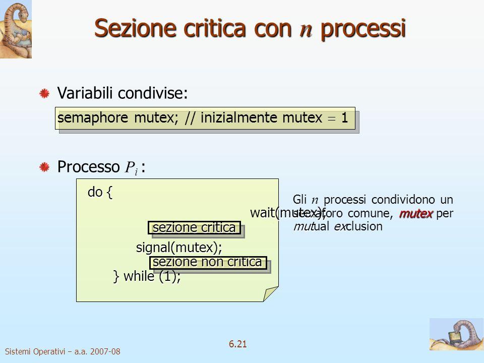 Sistemi Operativi a.a. 2007-08 6.21 Sezione critica con n processi mutex mutex Gli n processi condividono un semaforo comune, mutex per mutual exclusi