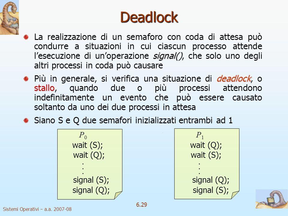 Sistemi Operativi a.a. 2007-08 6.29 Deadlock signal() La realizzazione di un semaforo con coda di attesa può condurre a situazioni in cui ciascun proc