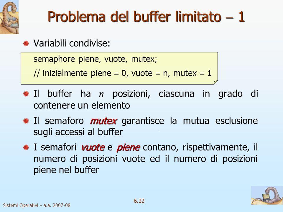 Sistemi Operativi a.a. 2007-08 6.32 Problema del buffer limitato 1 Variabili condivise: semaphore piene, vuote, mutex; // inizialmente piene 0, vuote