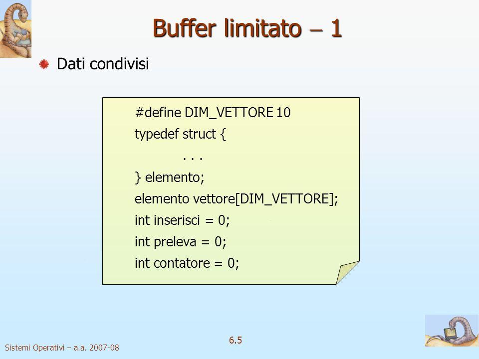 Sistemi Operativi a.a. 2007-08 6.5 Dati condivisi #define DIM_VETTORE 10 typedef struct {... } elemento; elemento vettore[DIM_VETTORE]; int inserisci