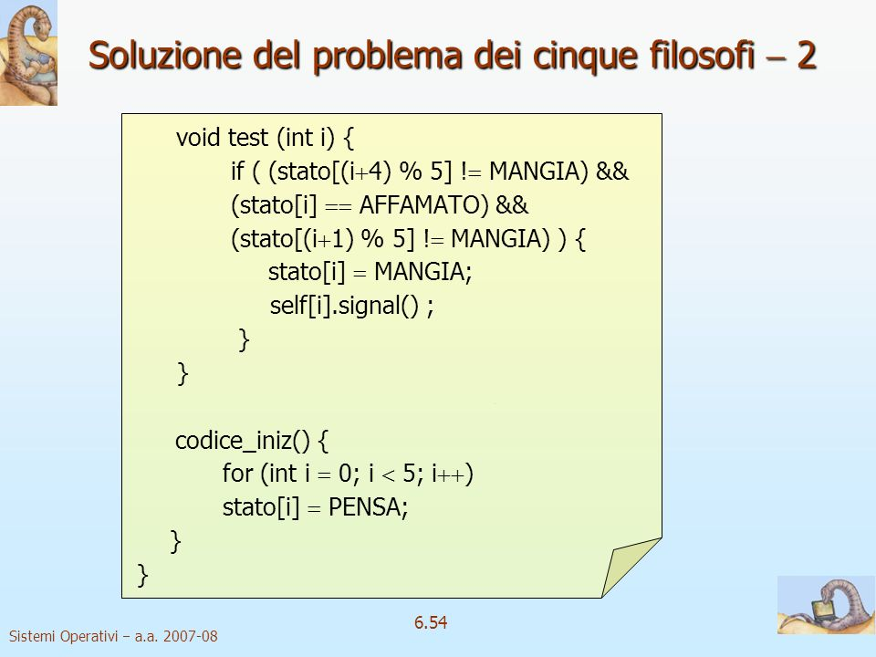 Sistemi Operativi a.a. 2007-08 6.54 void test (int i) { if ( (stato[(i 4) % 5] ! MANGIA) && (stato[i] AFFAMATO) && (stato[(i 1) % 5] ! MANGIA) ) { sta