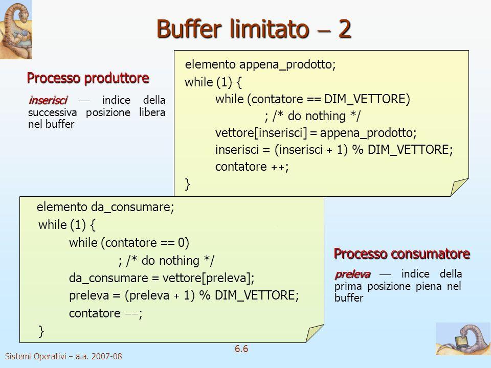 Sistemi Operativi a.a. 2007-08 6.6 elemento appena_prodotto; while (1) { while (contatore DIM_VETTORE) ; /* do nothing */ vettore[inserisci] appena_pr