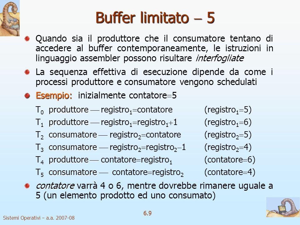 Sistemi Operativi a.a. 2007-08 6.9 interfogliate Quando sia il produttore che il consumatore tentano di accedere al buffer contemporaneamente, le istr