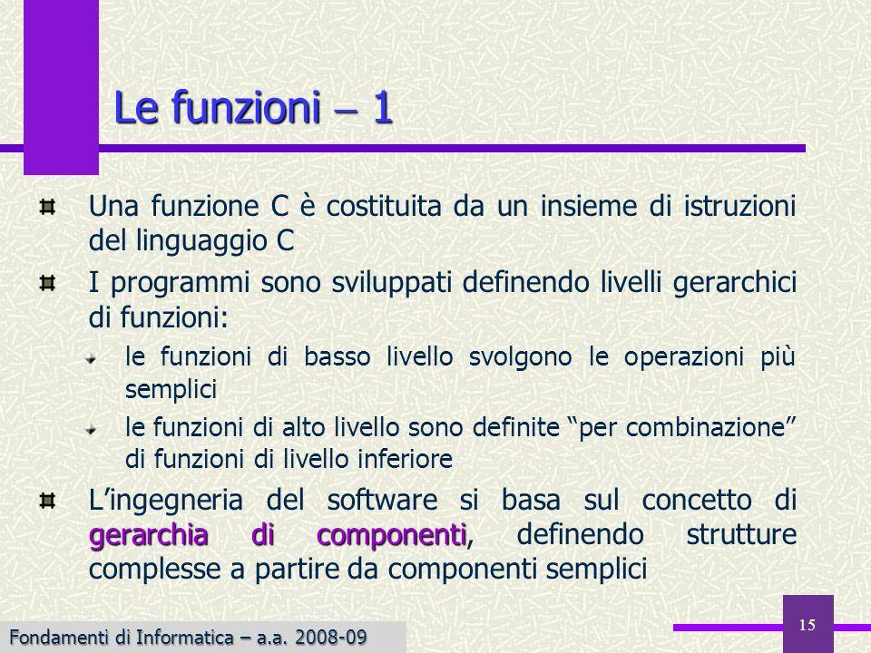 Fondamenti di Informatica I a.a. 2007-08 15 Le funzioni 1 Una funzione C è costituita da un insieme di istruzioni del linguaggio C I programmi sono sv