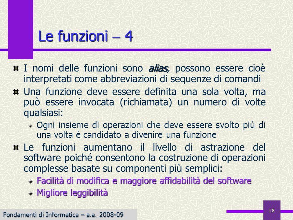 Fondamenti di Informatica I a.a. 2007-08 18 alias I nomi delle funzioni sono alias, possono essere cioè interpretati come abbreviazioni di sequenze di