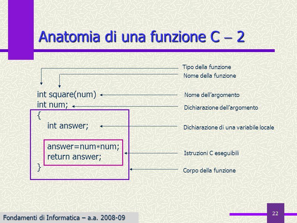 Fondamenti di Informatica I a.a. 2007-08 22 Anatomia di una funzione C 2 Tipo della funzione int square(num) int num; { int answer; answer=num num; re