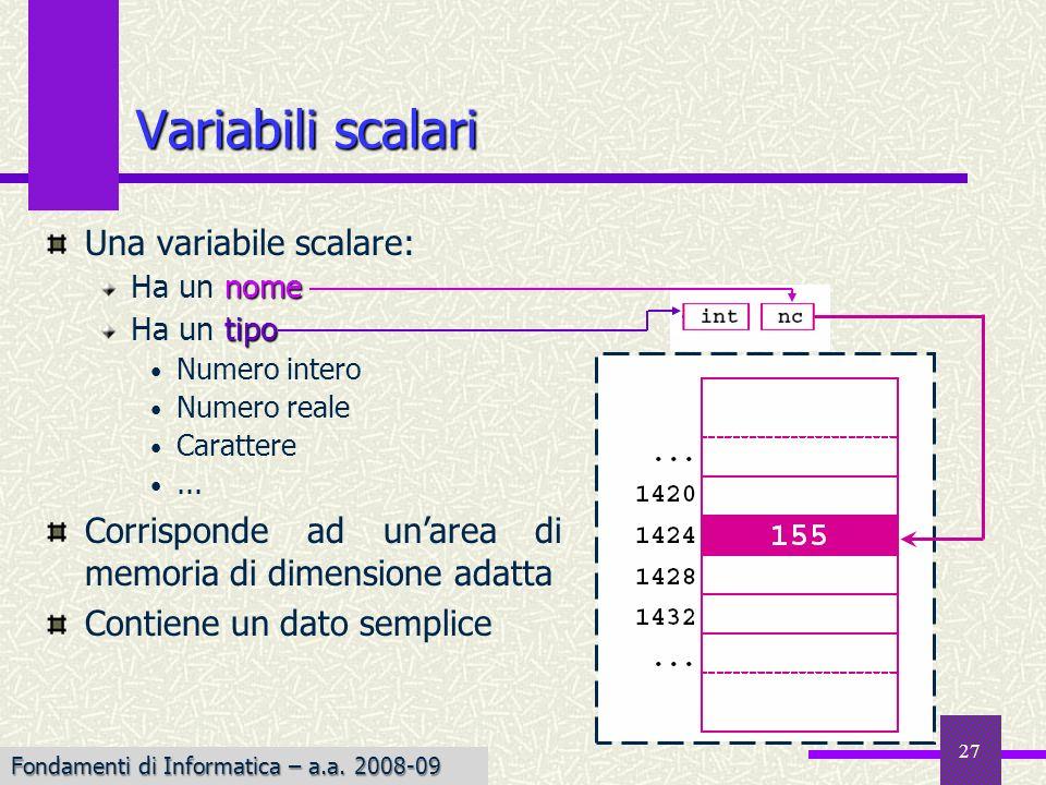 Fondamenti di Informatica I a.a. 2007-08 27 Una variabile scalare: nome Ha un nome tipo Ha un tipo Numero intero Numero reale Carattere... Corrisponde