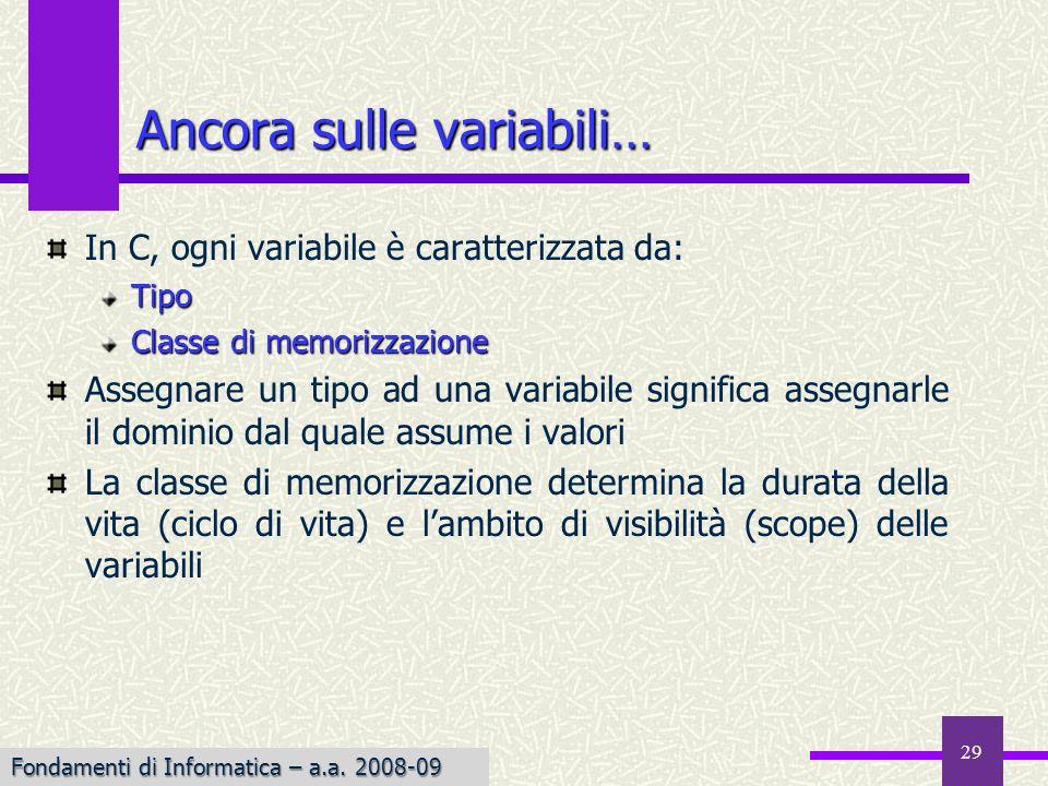 Fondamenti di Informatica I a.a. 2007-08 29 In C, ogni variabile è caratterizzata da:Tipo Classe di memorizzazione Assegnare un tipo ad una variabile