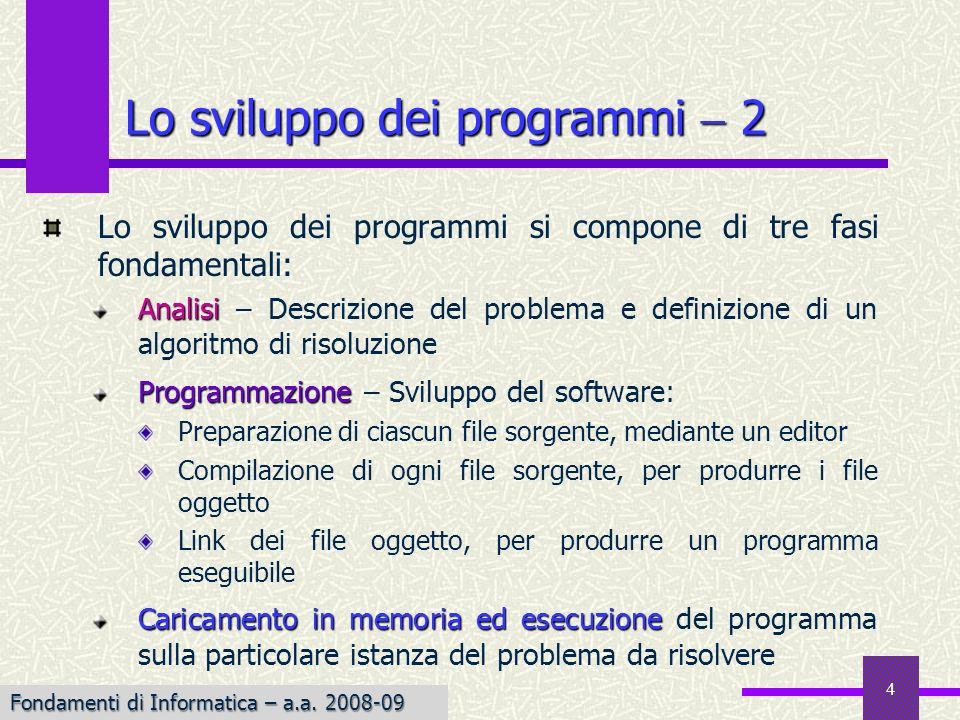Fondamenti di Informatica I a.a. 2007-08 4 Lo sviluppo dei programmi si compone di tre fasi fondamentali: Analisi Analisi – Descrizione del problema e
