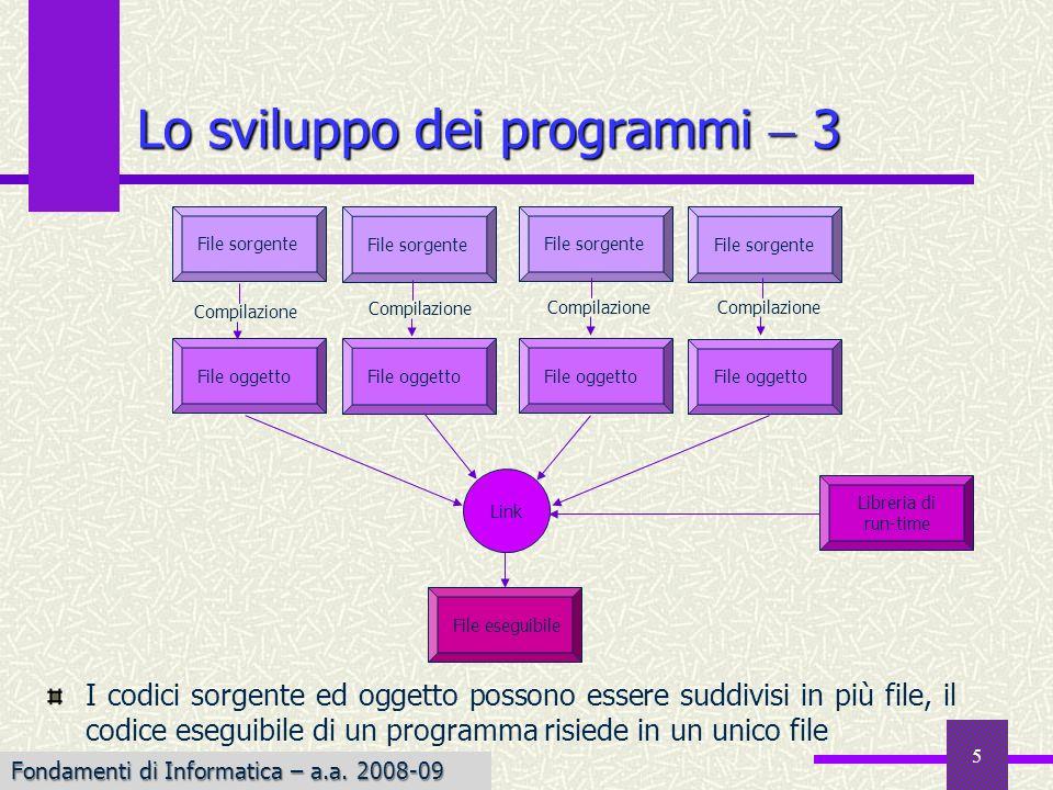 Fondamenti di Informatica I a.a. 2007-08 5 I codici sorgente ed oggetto possono essere suddivisi in più file, il codice eseguibile di un programma ris