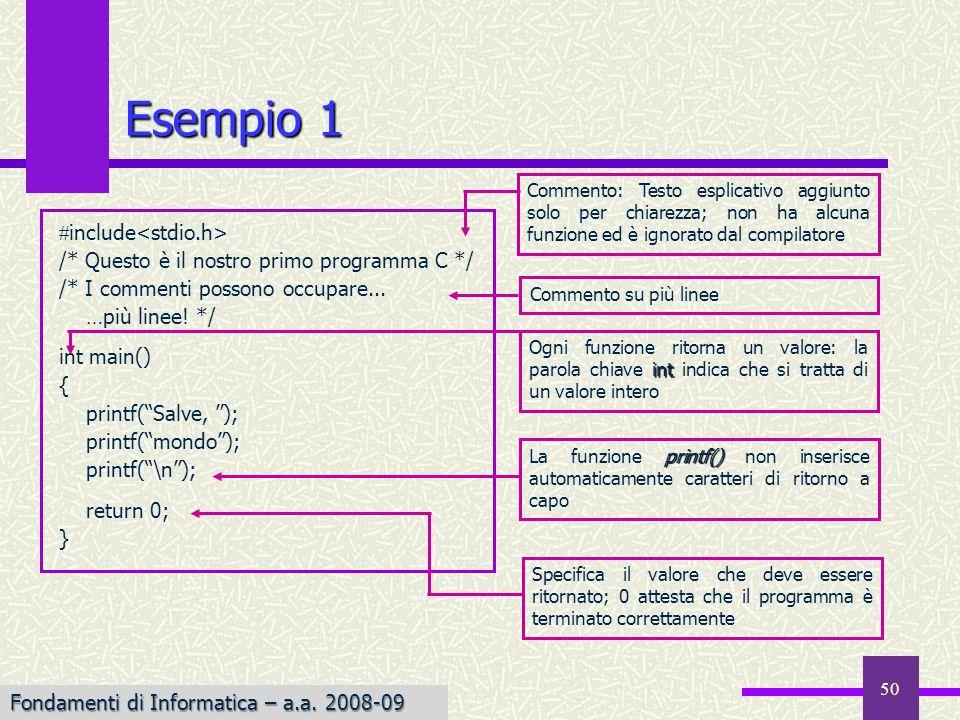 Fondamenti di Informatica I a.a. 2007-08 50 Esempio 1 include /* Questo è il nostro primo programma C */ /* I commenti possono occupare... …più linee!