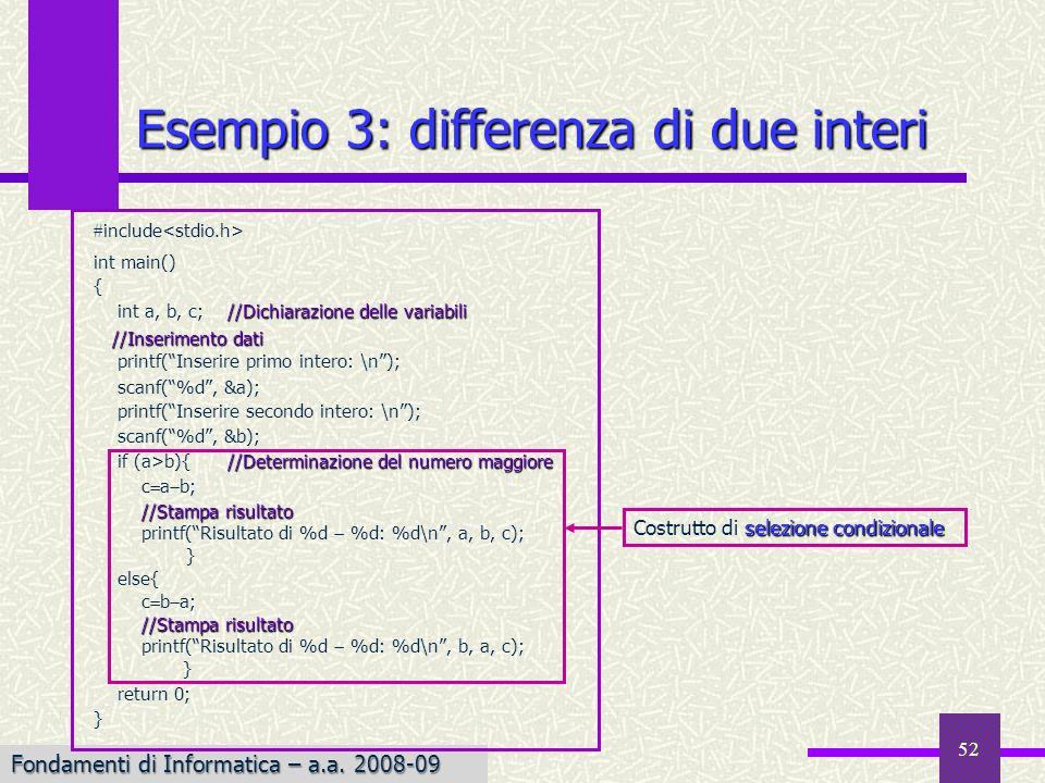 Fondamenti di Informatica I a.a. 2007-08 Fondamenti di Informatica – a.a. 2008-09 52 Esempio 3: differenza di due interi include int main() { //Dichia