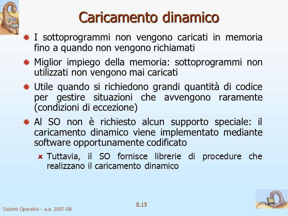 Sistemi Operativi a.a. 2007-08 8.15 Caricamento dinamico I sottoprogrammi non vengono caricati in memoria fino a quando non vengono richiamati Miglior