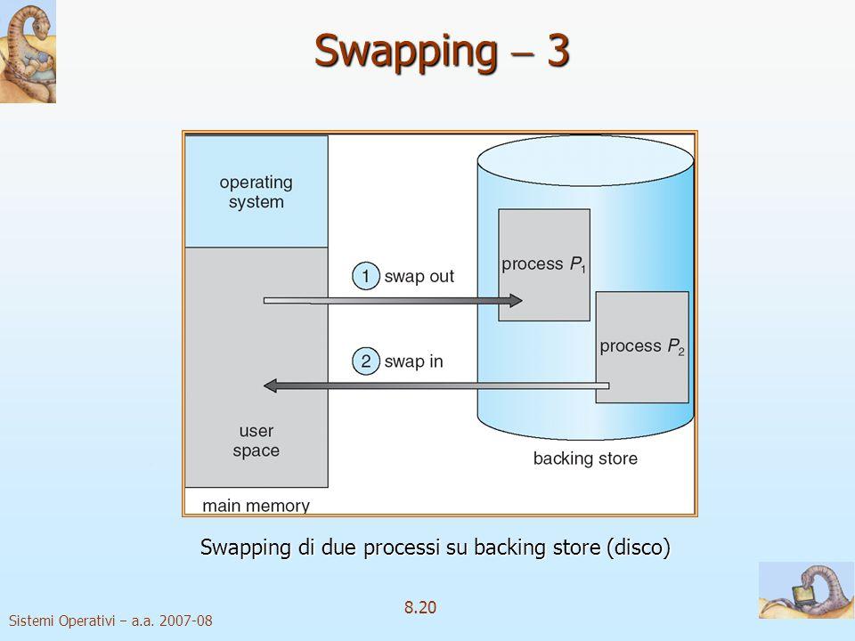 Sistemi Operativi a.a. 2007-08 8.20 Swapping 3 Swapping di due processi su backing store (disco)