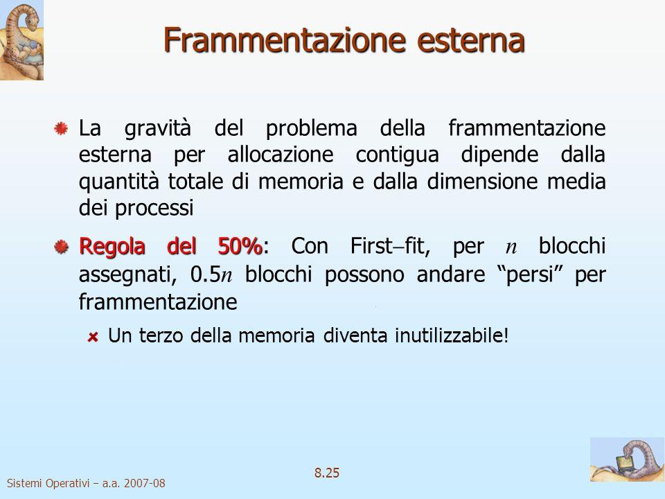 Sistemi Operativi a.a. 2007-08 8.25 Frammentazione esterna La gravità del problema della frammentazione esterna per allocazione contigua dipende dalla