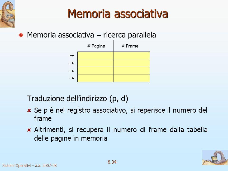 Sistemi Operativi a.a. 2007-08 8.34 Memoria associativa Memoria associativa ricerca parallela Traduzione dellindirizzo (p, d) Se p è nel registro asso