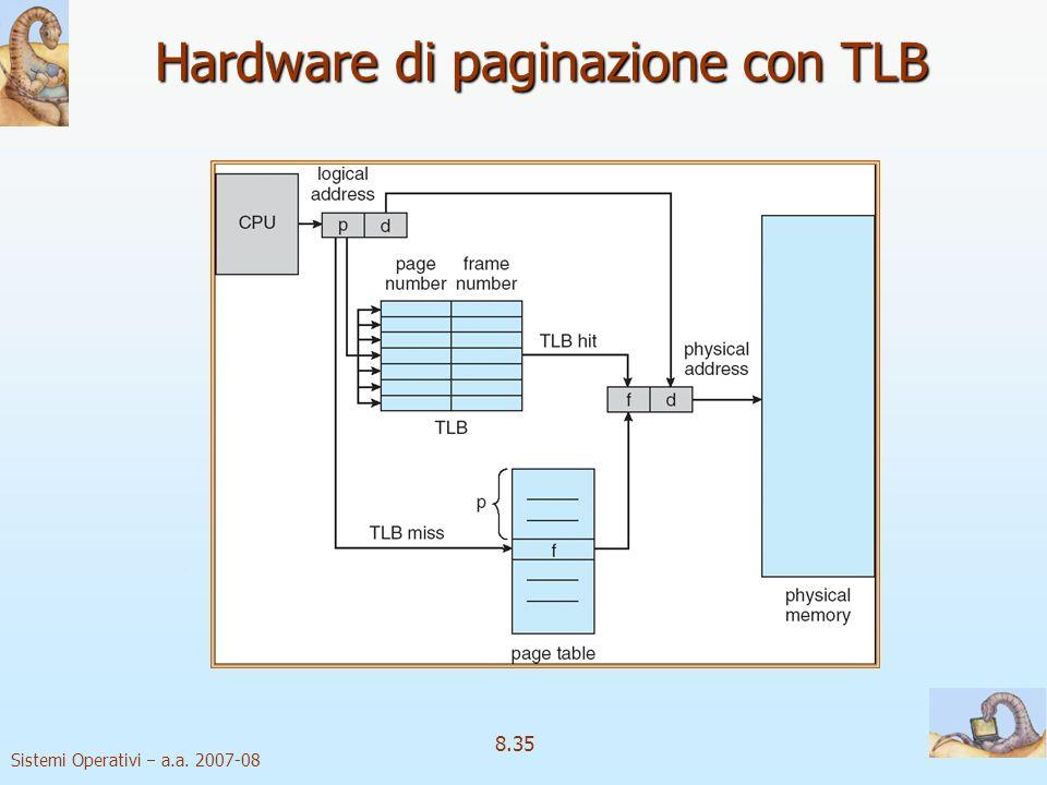 Sistemi Operativi a.a. 2007-08 8.35 Hardware di paginazione con TLB