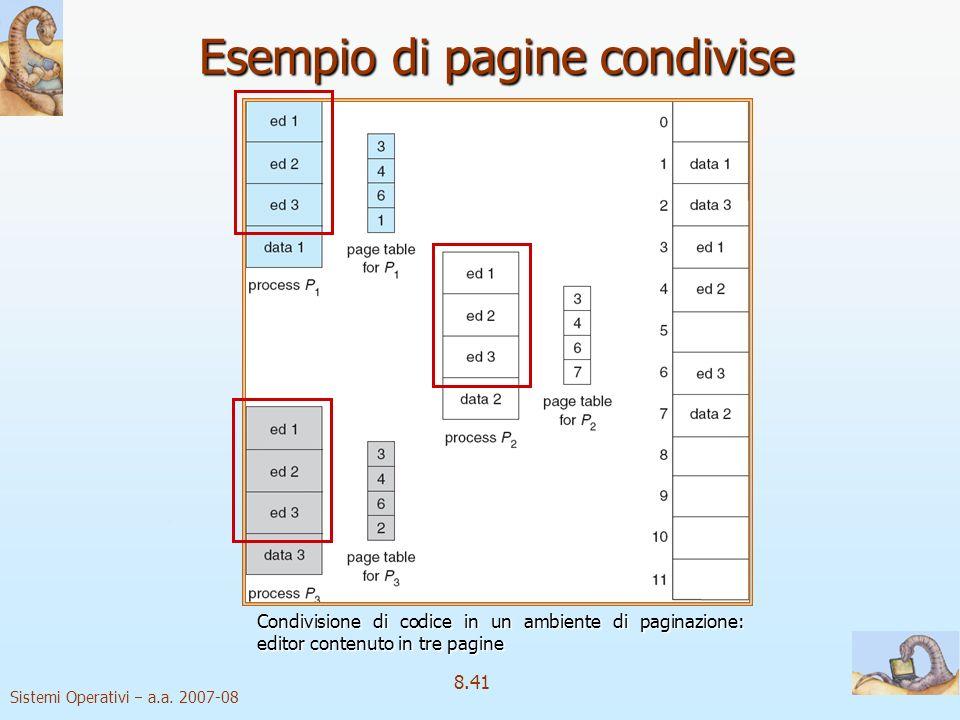 Sistemi Operativi a.a. 2007-08 8.41 Esempio di pagine condivise Condivisione di codice in un ambiente di paginazione: editor contenuto in tre pagine