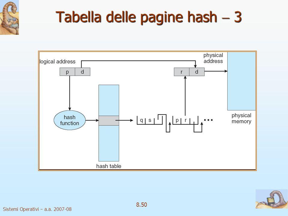 Sistemi Operativi a.a. 2007-08 8.50 Tabella delle pagine hash 3