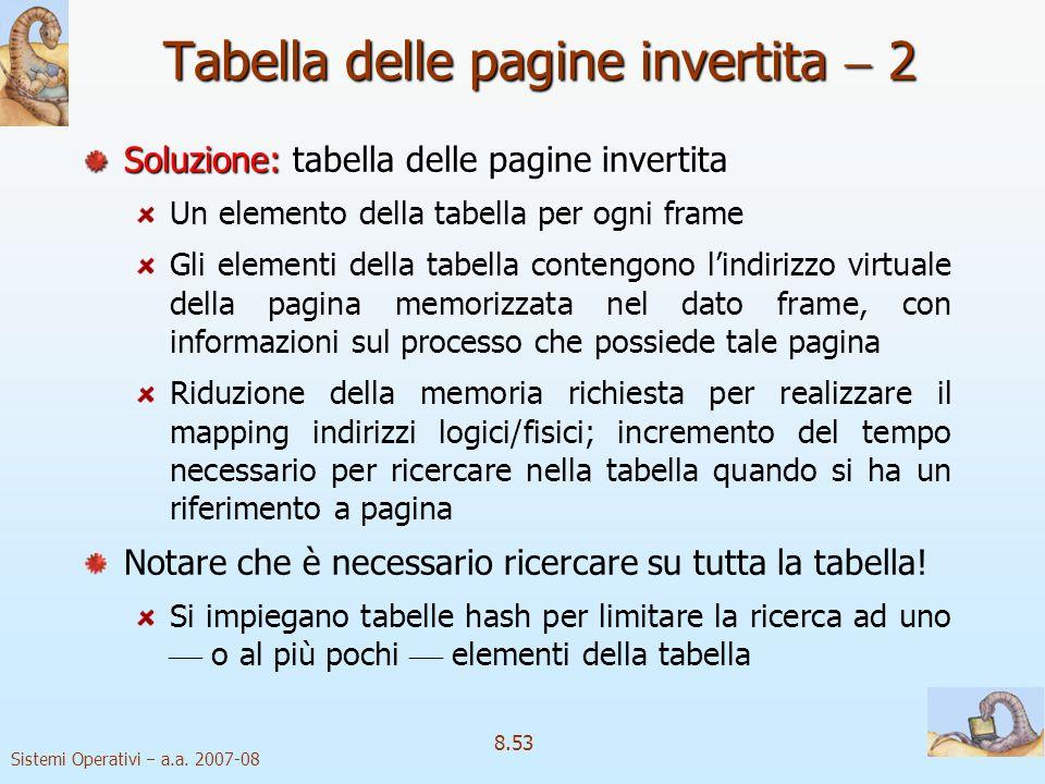Sistemi Operativi a.a. 2007-08 8.53 Tabella delle pagine invertita 2 Soluzione:tabella delle pagine invertita Soluzione: tabella delle pagine invertit