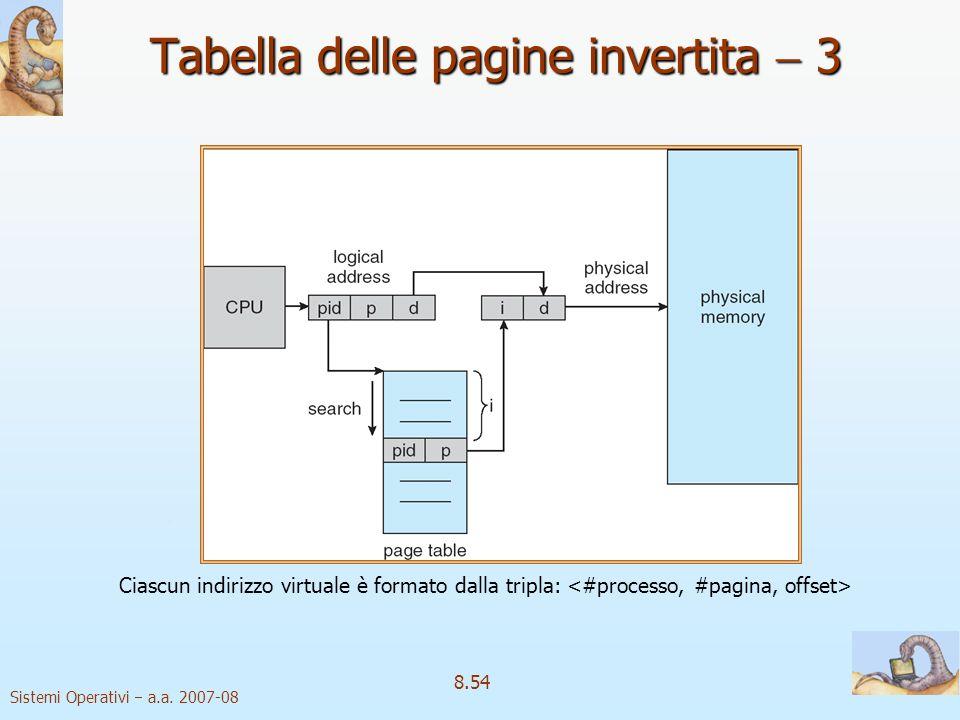 Sistemi Operativi a.a. 2007-08 8.54 Tabella delle pagine invertita 3 Ciascun indirizzo virtuale è formato dalla tripla: