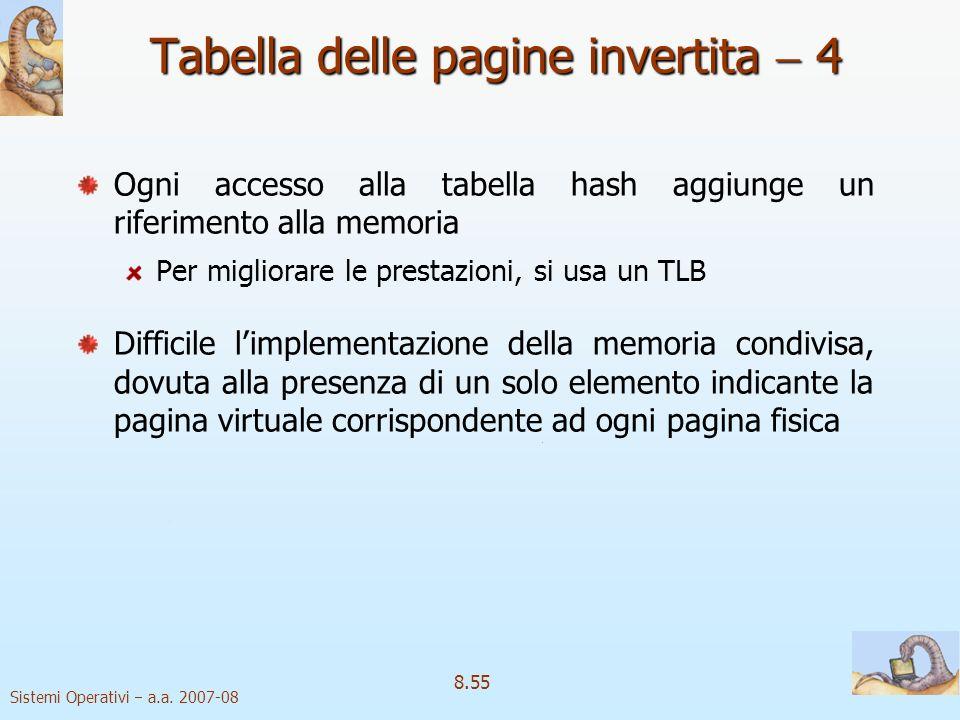Sistemi Operativi a.a. 2007-08 8.55 Tabella delle pagine invertita 4 Ogni accesso alla tabella hash aggiunge un riferimento alla memoria Per migliorar